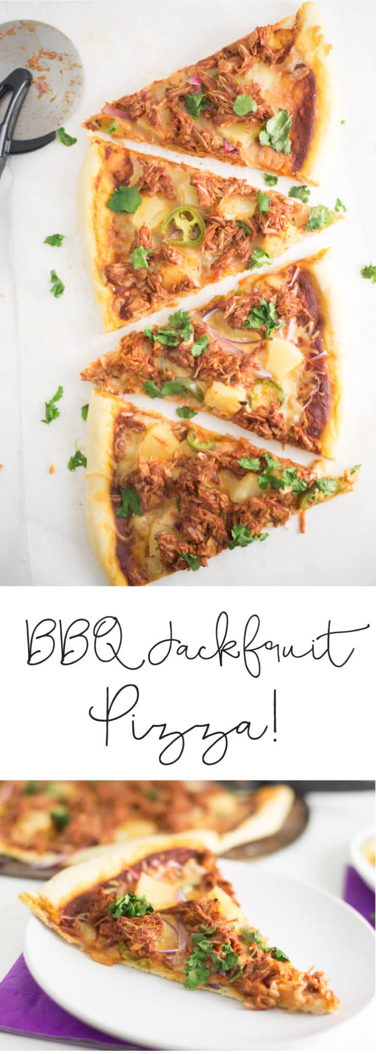 BBQ Jackfruit Pizza -- Try this vegetarian recipe for an easy weeknight meal! Gooey cheese, pineapple, jalapenos, and vegan BBQ