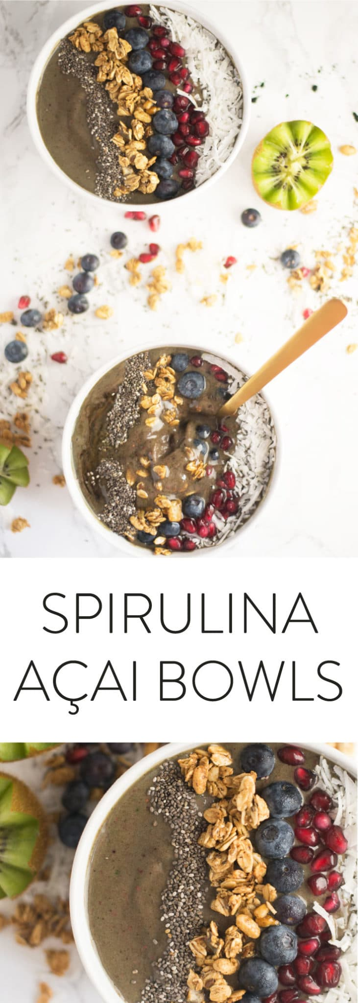 Spirulina Acai Bowl -- Whip up this smoothie bowl in a matter of minutes! Packed with superfoods and detoxifying ingredients like acai powder, spirulina, fresh fruit, and healthy toppings,  this vegan and gluten-free breakfast is the BEST WAY to start your morning! #vegan #vegetarian #healthy #cleaneating #breakfast #smoothiebowl #detox | mindfulavocado