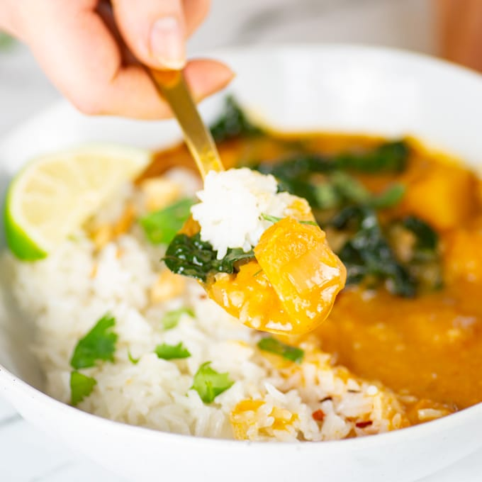 hand holding spoon with squash, kale, and rice