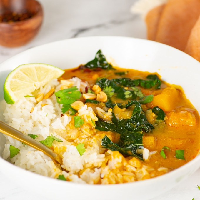 bowl of vegan butternut squash curry with rice