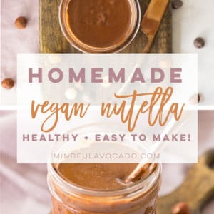 Homemade Nutella recipe is easy to make and so delicious! Vegan, gluten-free, and healthy. #vegan #vegetarian #glutenfree #nutella #chocolate #hazelnuts #dessert #healthy | mindfulavocado