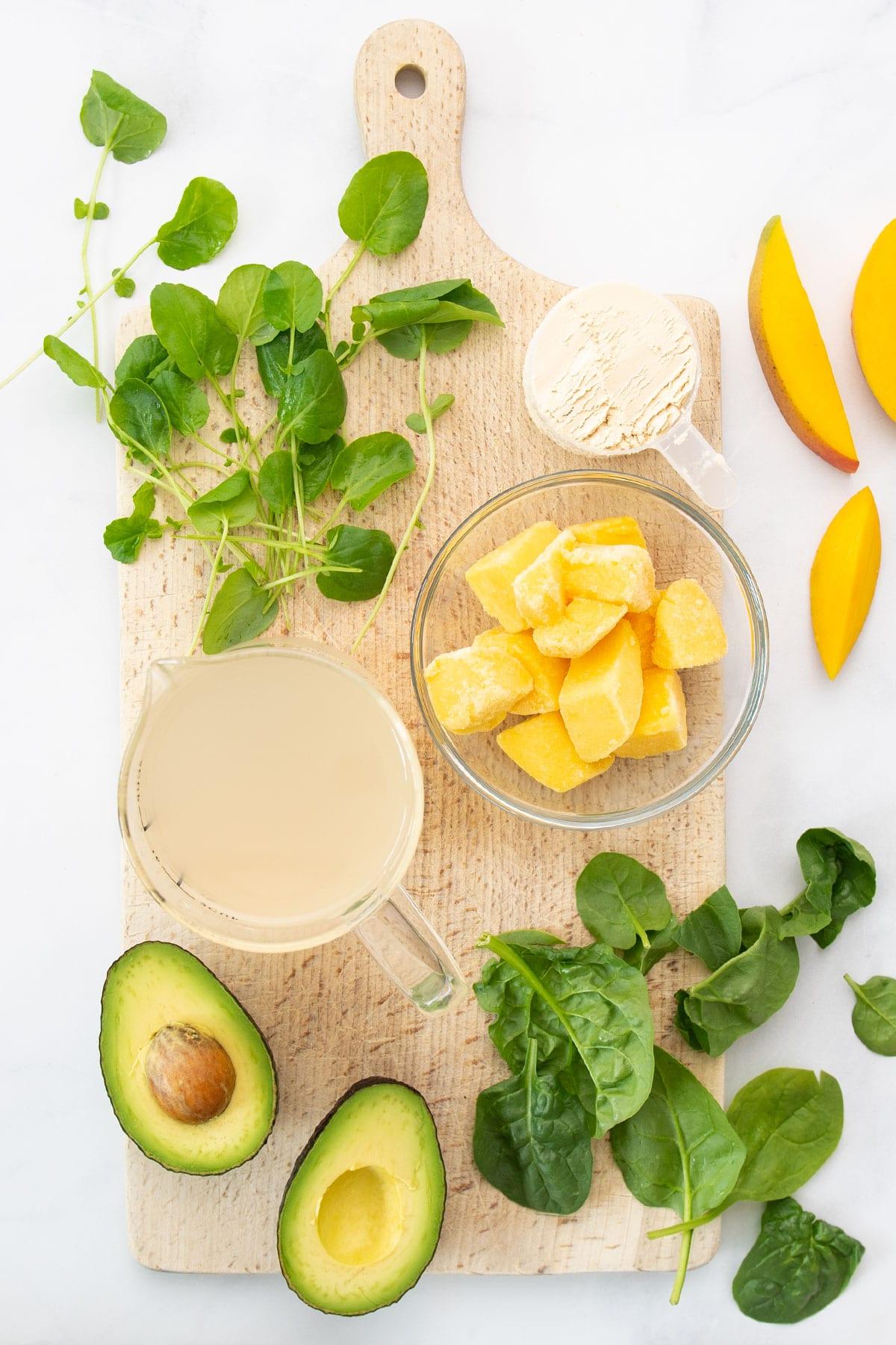 ingredients for mango green smoothie recipe