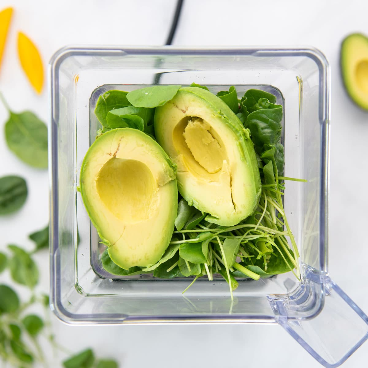 avocado and greens in a blender
