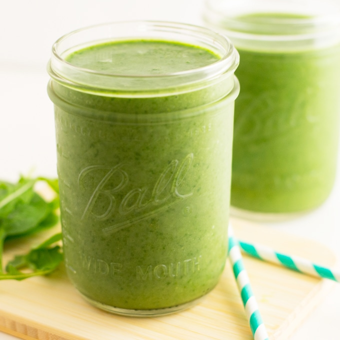 healthy vegan mango green smoothie with spinach