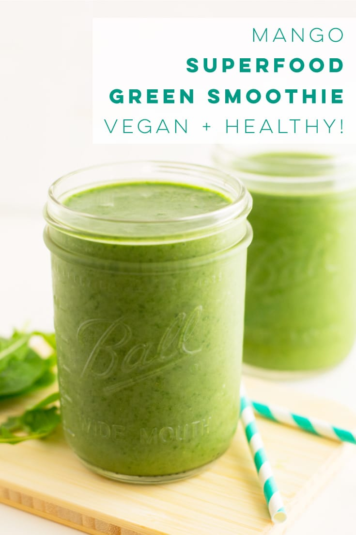 This vegan green smoothie recipe is LOADED with healthy ingredients. So easy to make, and the PERFECT breakfast or snack! #greensmoothie #vegan #plantbased #healthy #breakfast #smoothie | Mindful Avocado