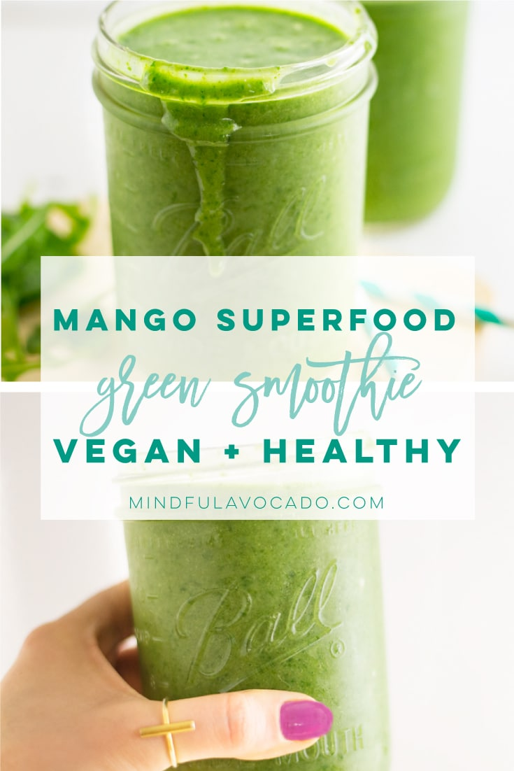 This vegan green smoothie recipe is full of healthy ingredients and no bananas in sight! This smoothie is the BEST for a healthy breakfast recipe! #greensmoothie #vegan #plantbased #healthy #breakfast #smoothie | Mindful Avocado