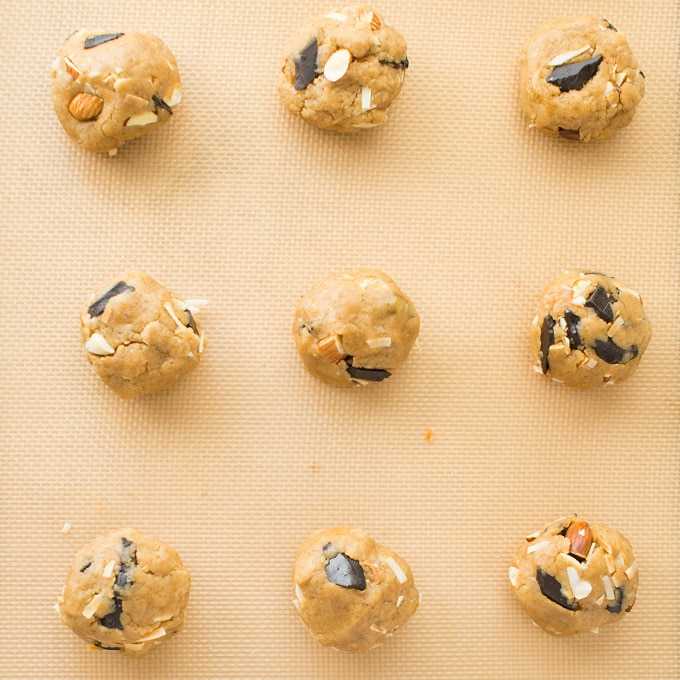 vegan chocolate chip cookie dough on baking sheet