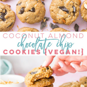 Vegan Almond Coconut Chocolate Chip Cookies -- This easy and healthy cookie recipe is to die for! Delicious vegan chocolate chip cookies with toasted almonds and coconut! #vegan #veganbaking #vegancookies #plantbased #almondjoy #cookies #easy #healthy | Mindful Avocado
