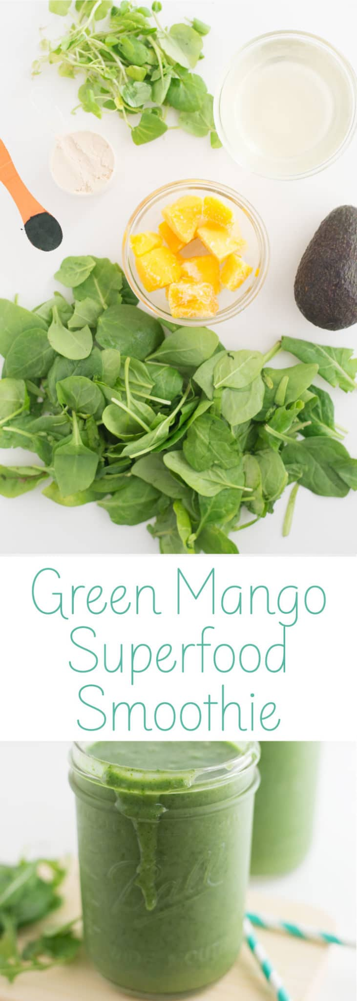 Green Superfood Smoothie -- Throw all the ingredients in your blender for an easy vegan breakfast or snack. #greensmoothie #vegan #healthy #cleaneating #smoothierecipes - mindfulavocado