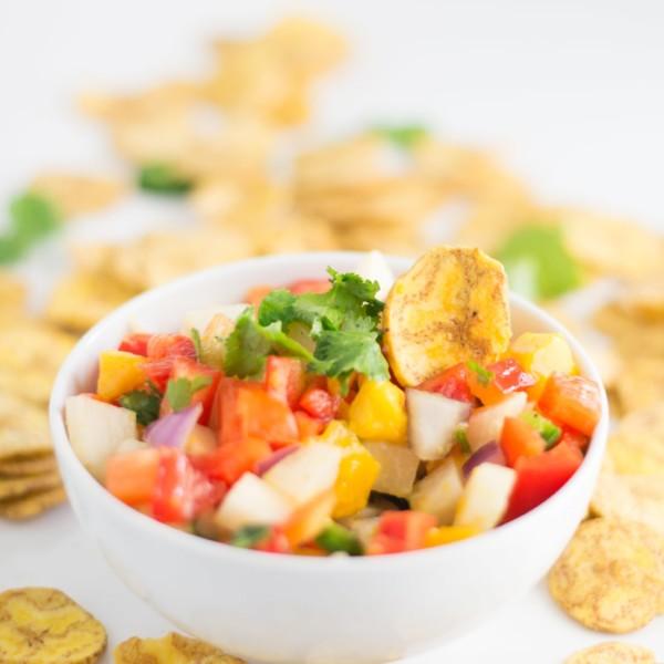 bowl of jicama mango salsa with plantain chips