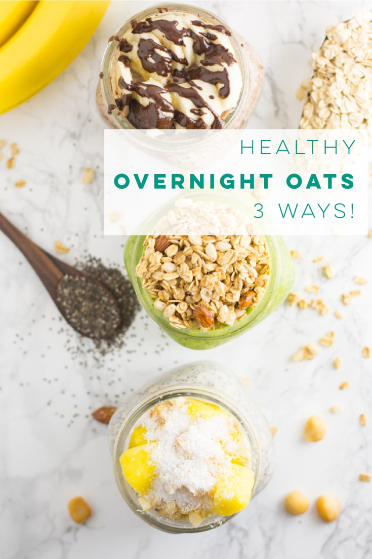 Overnight oats are so EASY to make and are a healthy breakfast! Vegan and gluten free, these different flavor combos are a must try! #vegan #cleaneating #vegetarian #veganbreakfast #glutenfree #healthy - mindfulavocado