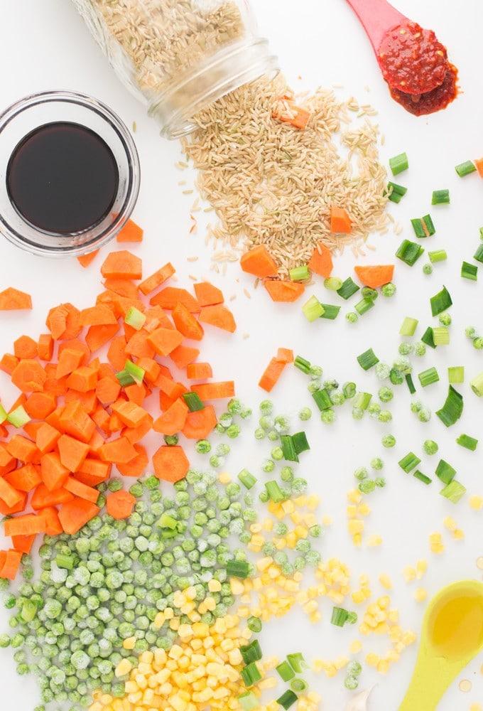 ingredients for vegan fried rice