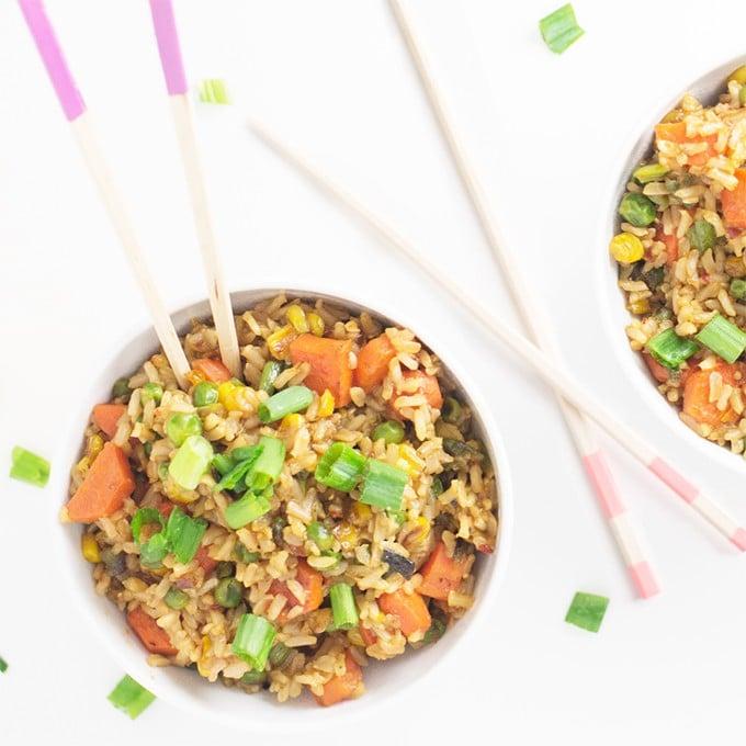 vegan fried rice with veggies