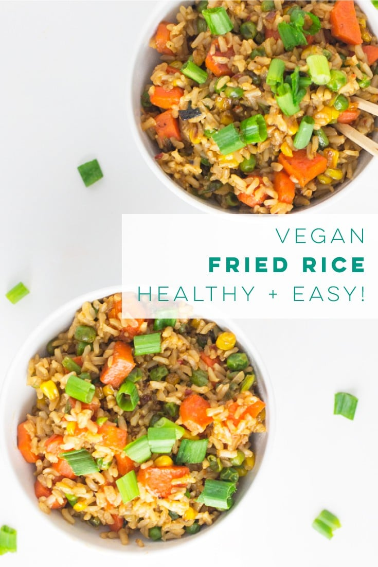 Vegan fried rice is the BEST weeknight meal. Substitute brown rice with cauliflower rice to make a healthy low-carb, gluten-free meal! #vegan #vegetarian #gluten free #cleaneating #healthy #friedrice | Mindful Avocado