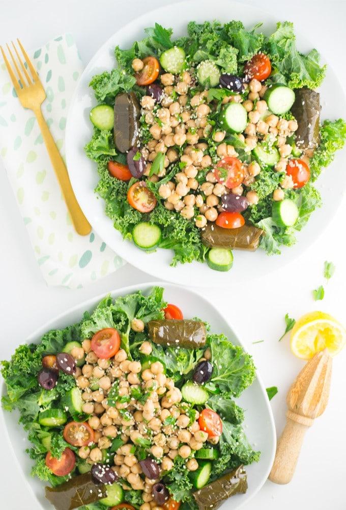 healthy vegan greek salad with chickpeas and tahini dressing