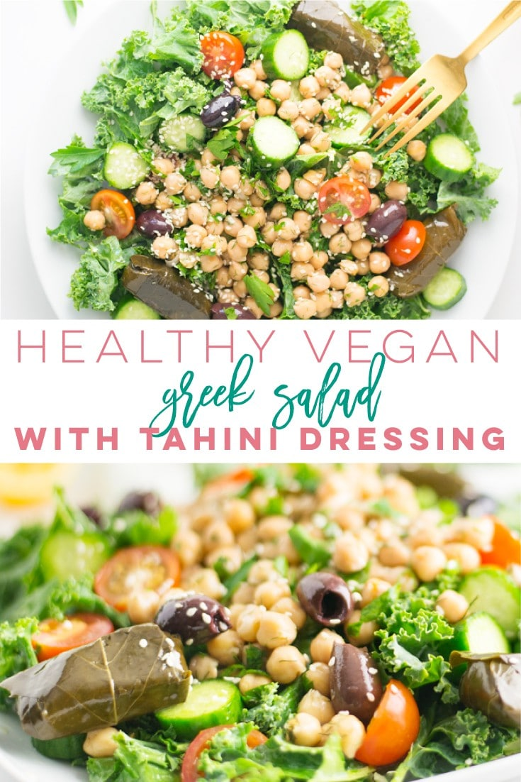 Vegan Greek Salad with Tahini Dressing -- It only takes a few ingredients to make this healthy salad come together for a delicious plant-based meal. Chickpeas, fresh herbs, and an easy homemade tahini dressing make this salad worth a try! #vegansalad #healthyrecipe #cleaneating #vegan #greeksalad #tahini | Mindful Avocado