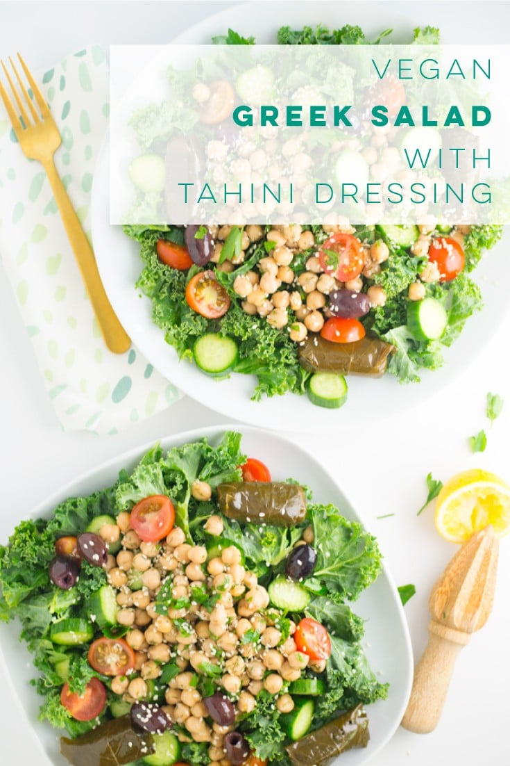 Vegan Greek salad is the PERFECT healthy lunch recipe! Paired with a delicious homemade tahini dressing, this easy salad is a must try! #vegansalad #healthyrecipe #cleaneating #vegan #greeksalad #tahini | Mindful Avocado