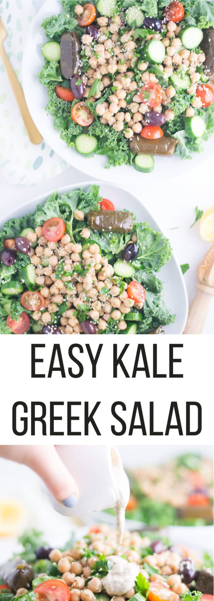 Kale Greek Salad with Tahini Dressing -- It only takes a few ingredients to make this salad come together for a delicious plant-based meal. Chickpeas, fresh herbs, and a delicious tahini dressing make this salad worth a try! #vegansalads #healthyrecipe #cleaneating #vegan- mindfulavocado