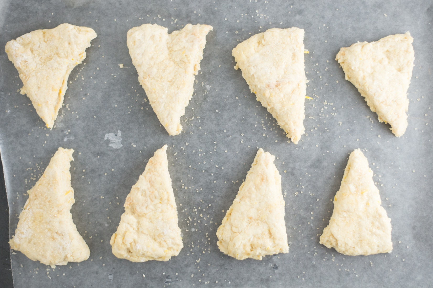 lemon scones on parchment paper on baking sheet