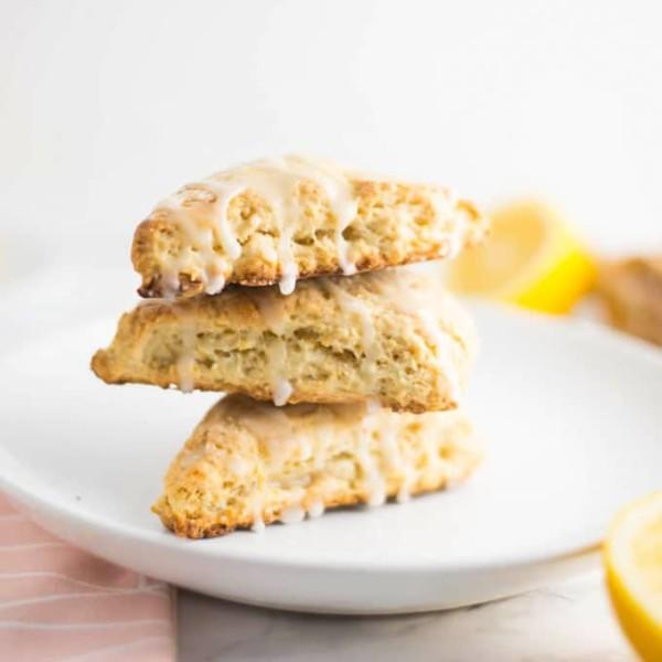 stack of vegan lemon scones on a plate
