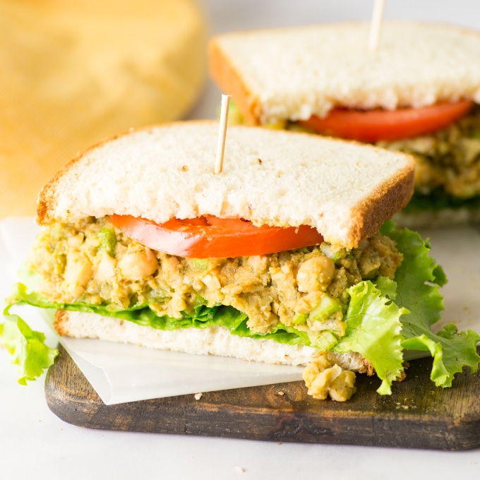 chickpea salad sandwich with lettuce and tomato