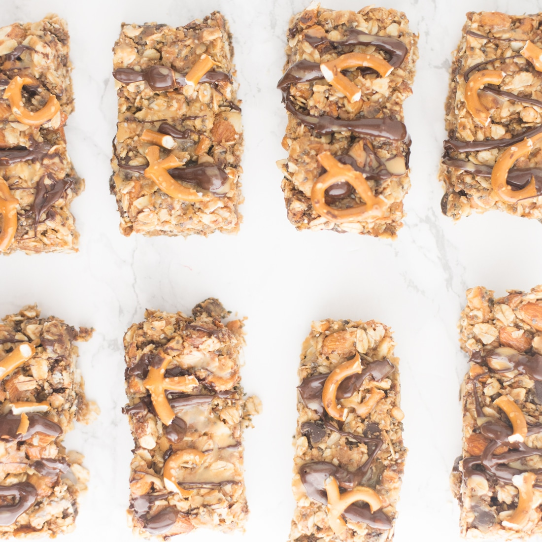 Chocolate Peanut Butter Pretzel Granola Bars