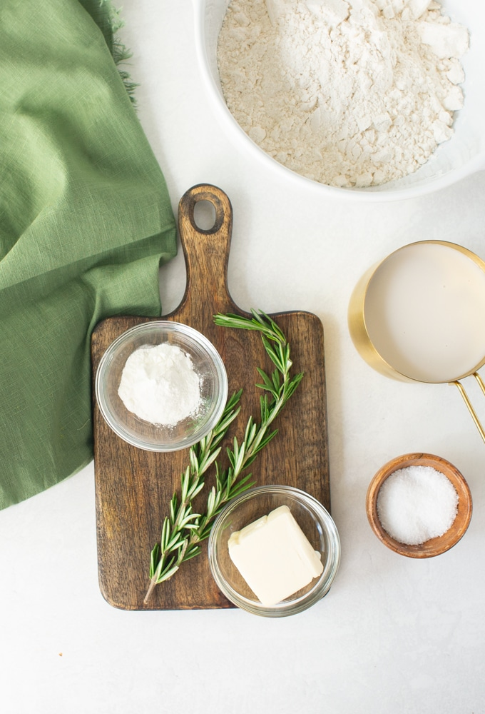 ingredients for rosemary biscuits