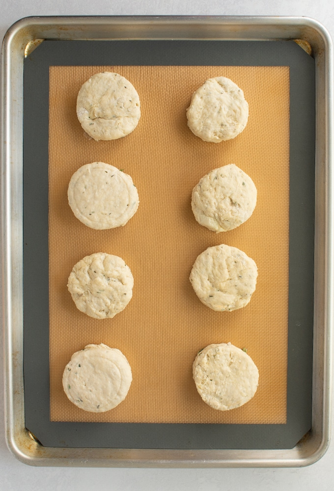 rosemary biscuits on baking sheet before baking