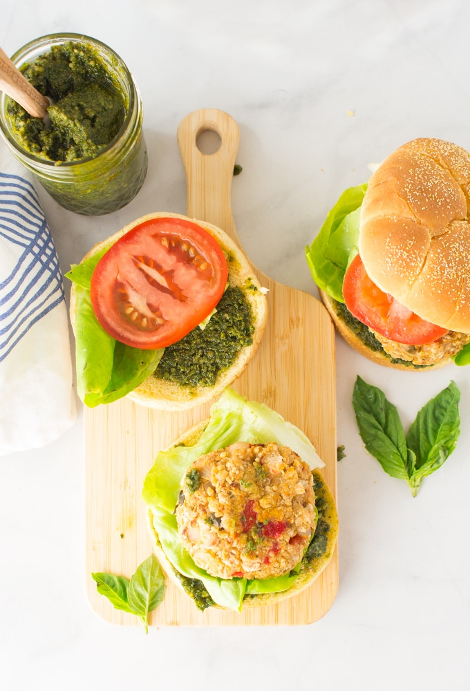 white bean veggie burgers with homemade pesto