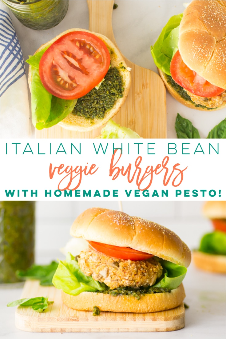 Italian White Bean Veggie Burgers -- This veggie burger recipe is so easy to make and tastes amazing! Toasted quinoa, white beans, and veggies come together to make these vegan and gluten-free patties! #vegan #glutenfree #veggieburger #plantbased | Mindful Avocado