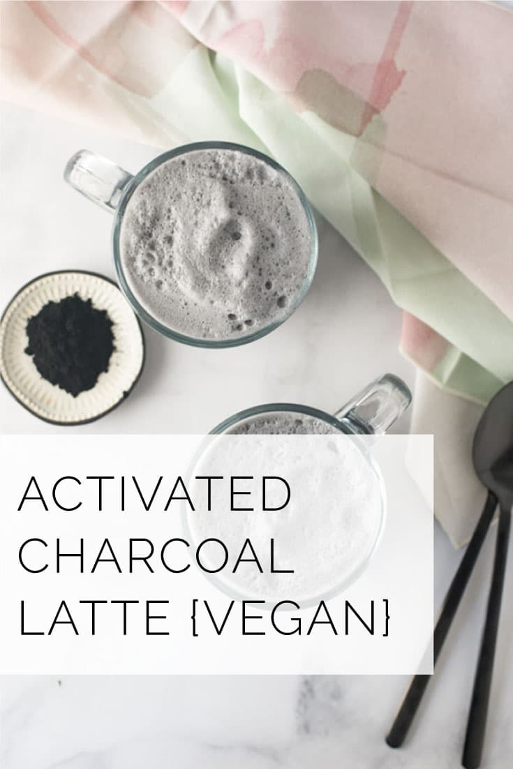 Activated charcoal latte is so easy to make and packed with health benefits. Start your day with this vegan latte recipe! #vegan #detox #healthy #charcoal #cleaneating #latte - mindfulavocado