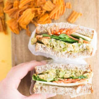 Chickpea Salad Sandwich -- This sandwich is the perfect addition to your lunch arsenal. Packed with healthy avocado and fiber, this plant based meal will keep you fuller longer. - mindfulavocado