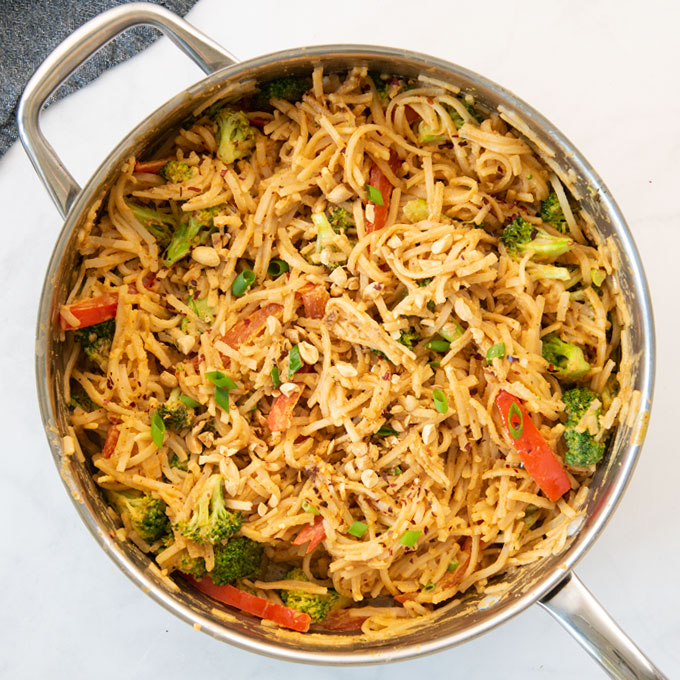 peanut noodles in a large pan