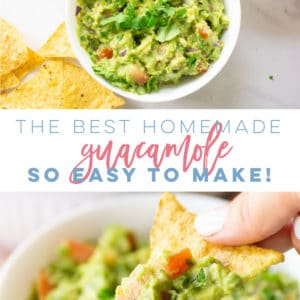 How To Make Easy Homemade Guacamole -- This easy guacamole recipe is so delicious and versatile. Loaded with fresh avocados, tomatoes, onions, and a hint of jalapeños, lime juice, and salt. This guacamole recipe is the BEST! #guacamole #vegan #vegetarian #healthysnack #keto #whole30 #paleo #glutenfree - Mindful Avocado