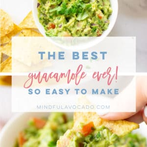 """The BEST guacamole recipe thats so simple and easy to make! This delicious guacamole is chunky and FULL of flavor. It's the perfect snack or side! #guacamole #vegan #vegetarian #healthysnack #keto #whole30 #paleo #glutenfree - Mindful Avocado"""""""