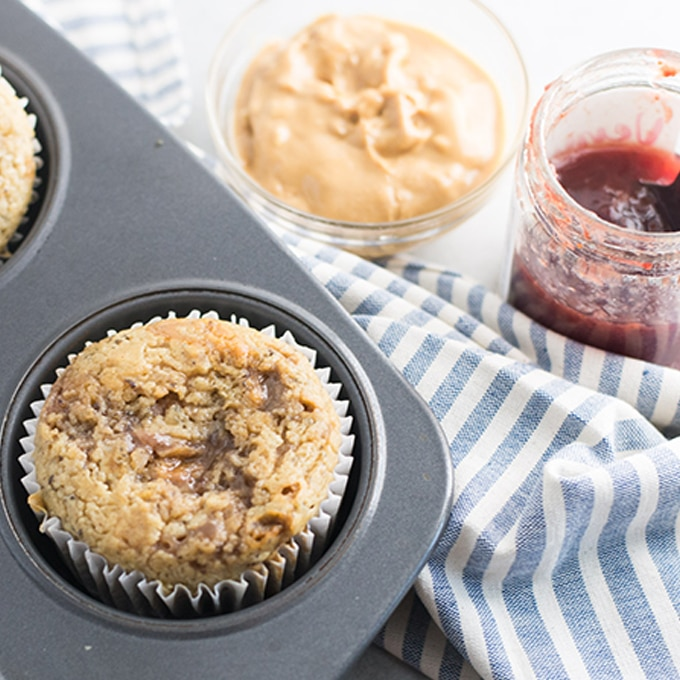 vegan peanut butter and jelly muffins in muffin tin