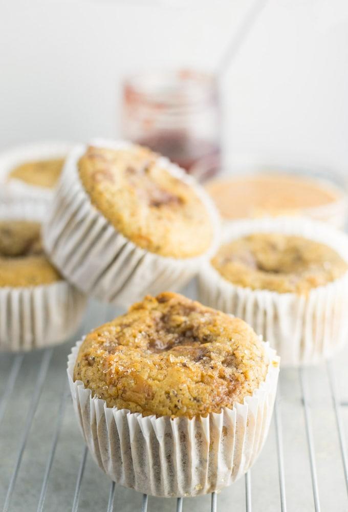 vegan peanut butter muffins on cooling rack