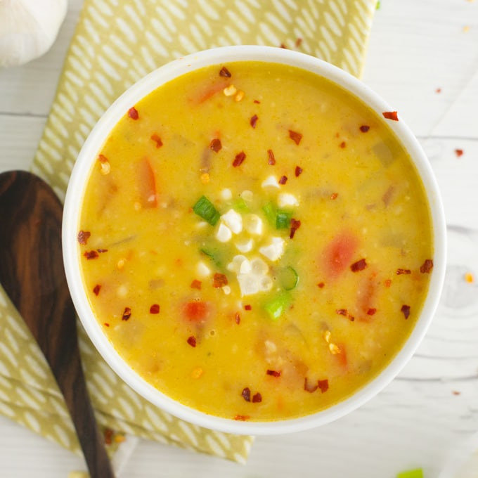 vegan corn chowder with red chili flakes