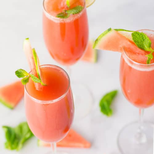 Watermelon Mimosas with Mint