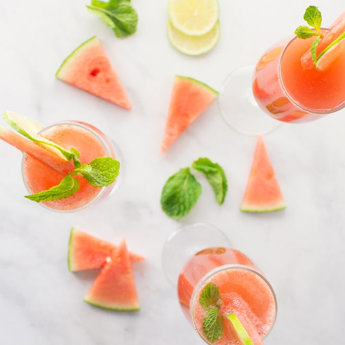 watermelon mimosas with mint and fresh lime slices