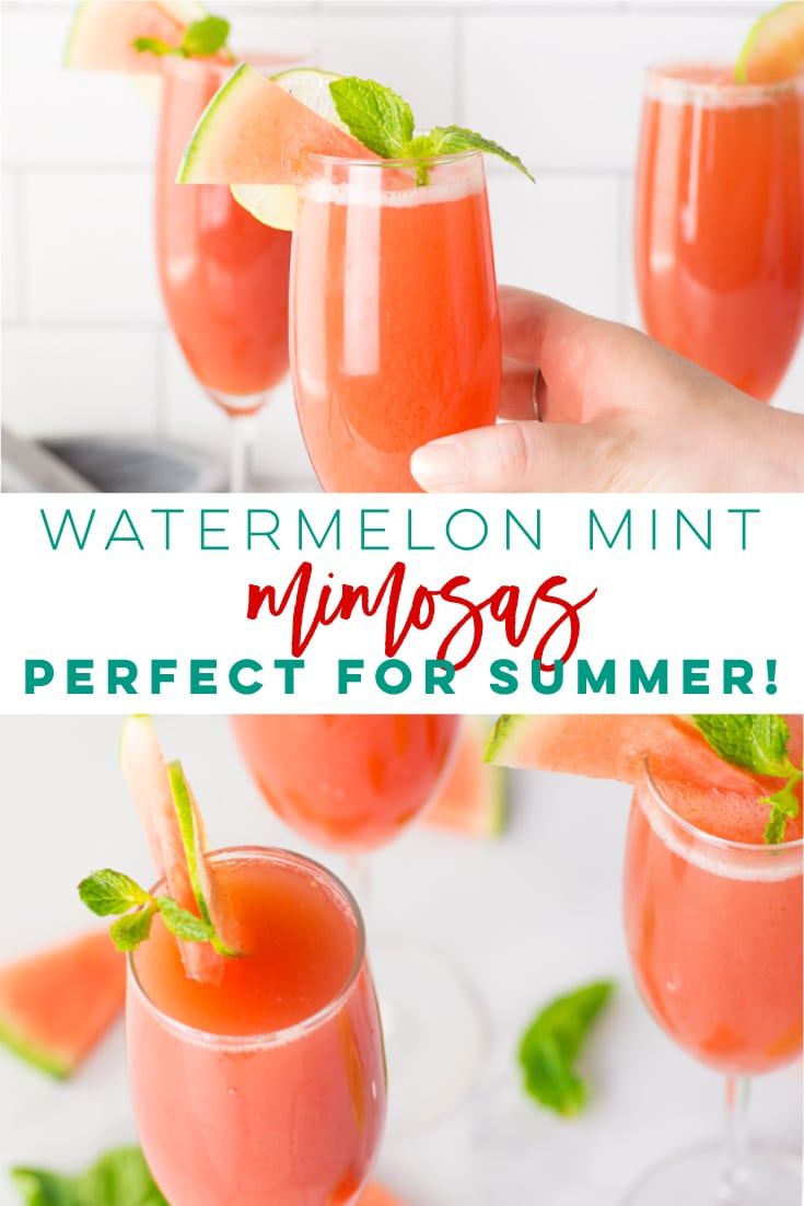 Watermelon Mint Mimosas -- This delicious watermelon mint mimosa recipe only calls for a few ingredients and is so easy to make. NATURALLY sweetened + simple ingredients make this cocktail a must try! Perfect for Summer Sunday brunch! #healthy #cocktail #champagne #summer #mimosas #watermelon - Mindful Avocado