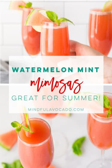 Watermelon mimosas with mint are super refreshing and easy to make. Perfect for Summer parties, brunch, bridal showers, or any party! #healthy #cocktail #champagne #summer #mimosas #watermelon - Mindful Avocado