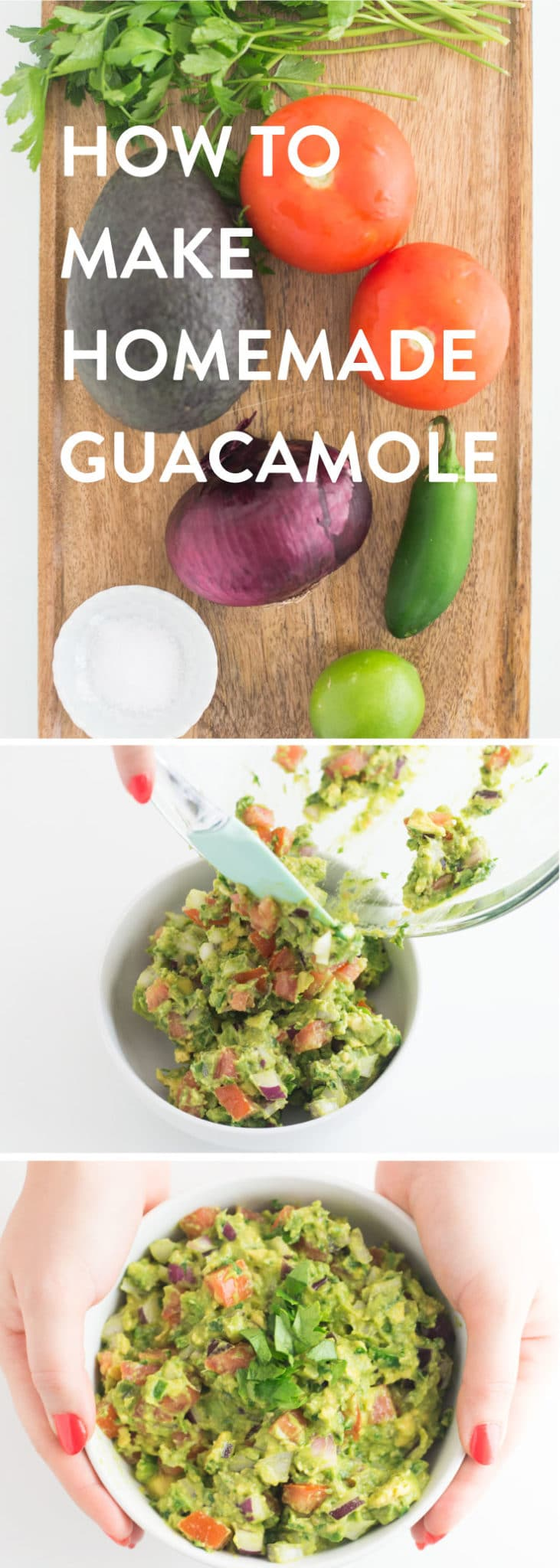 How To Make Easy Homemade Guacamole -- This easy guacamole recipe is so delicious and versatile. Loaded with fresh avocados, tomatoes, onions, and a hint of jalapeños, lime juice, and salt. You won't believe how easy it is to make a delicious guacamole recipe! #guacamole #vegan #vegetarian #healthysnack #keto #whole30 #paleo #glutenfree - mindfulavocado