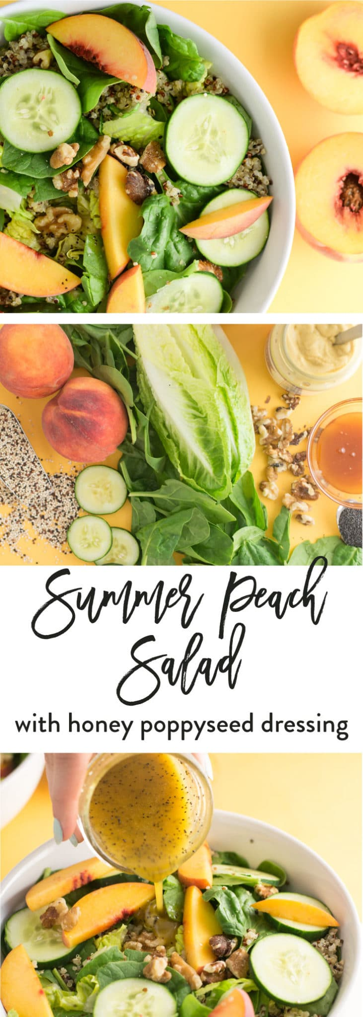 Summer Peach Salad with Honey Poppyseed Dressing -- This summer salad recipe is everything you need for a healthy lunch that showcases seasonal fruits and vegetables. Peaches, greens, walnuts, quinoa, and a sweet and tangy honey poppyseed dressing make this vegetarian salad a great lunch or addition to your dinner. #vegan #vegetarian #salad #healthy #cleaneating #summer - mindfulavocado