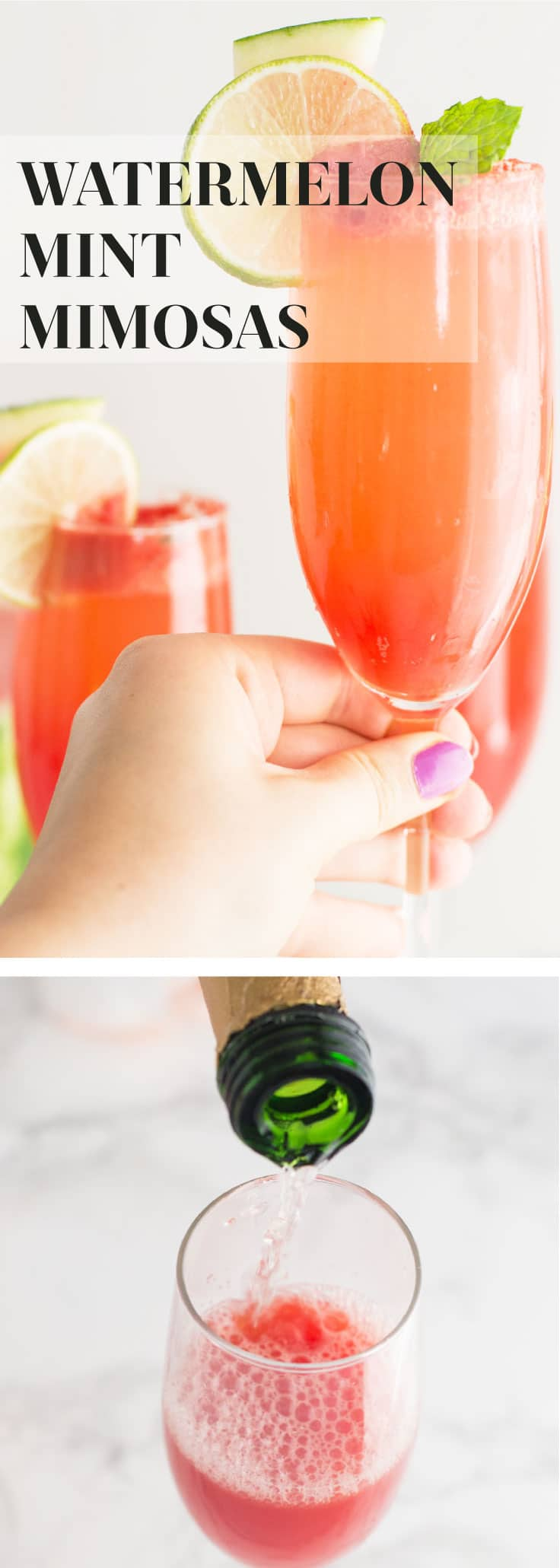 Watermelon Mint Mimosas -- This delicious watermelon mint mimosa recipe only calls for a few ingredients and is so easy to make. NATURALLY sweetened + simple ingredients make this cocktail a must try! Perfect for Sunday brunch or entertaining guests on any occasion.#healthy #cocktail #champagne #summer #drink - mindfulavocado