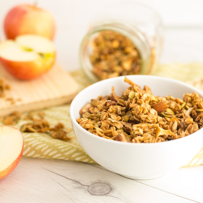 bowl of homemade granola with apples