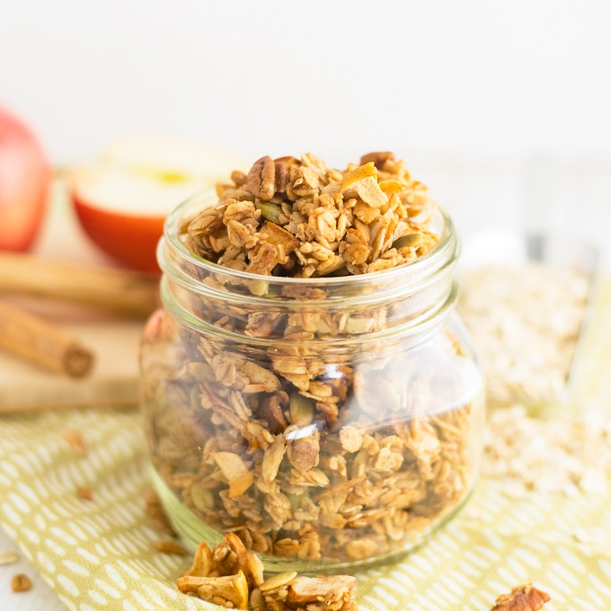 healthy homemade apple spice granola in mason jar