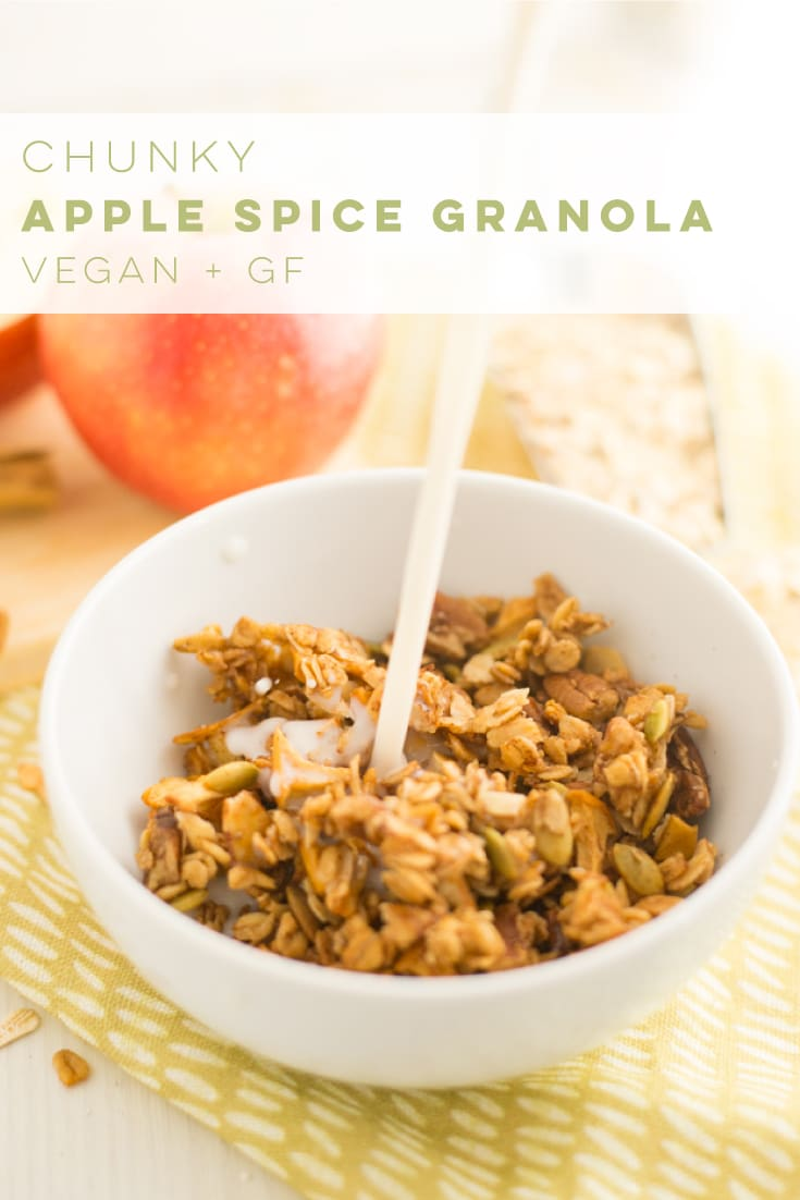 Apple spice granola is the PERFECT recipe for Fall! Full of cinnamon aromatic flavors, this granola recipe is the best vegan and gluten free breakfast or snack. #fallrecipes #applespice #granola #vegan #breakfast #snack | Mindful Avocado