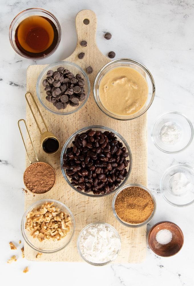 ingredients for vegan black bean brownies