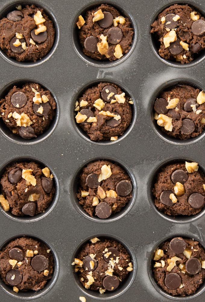 black bean brownie bites in mini cupcake tin